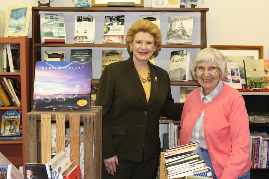 Senator Stabenow visits Books & More in Albion.