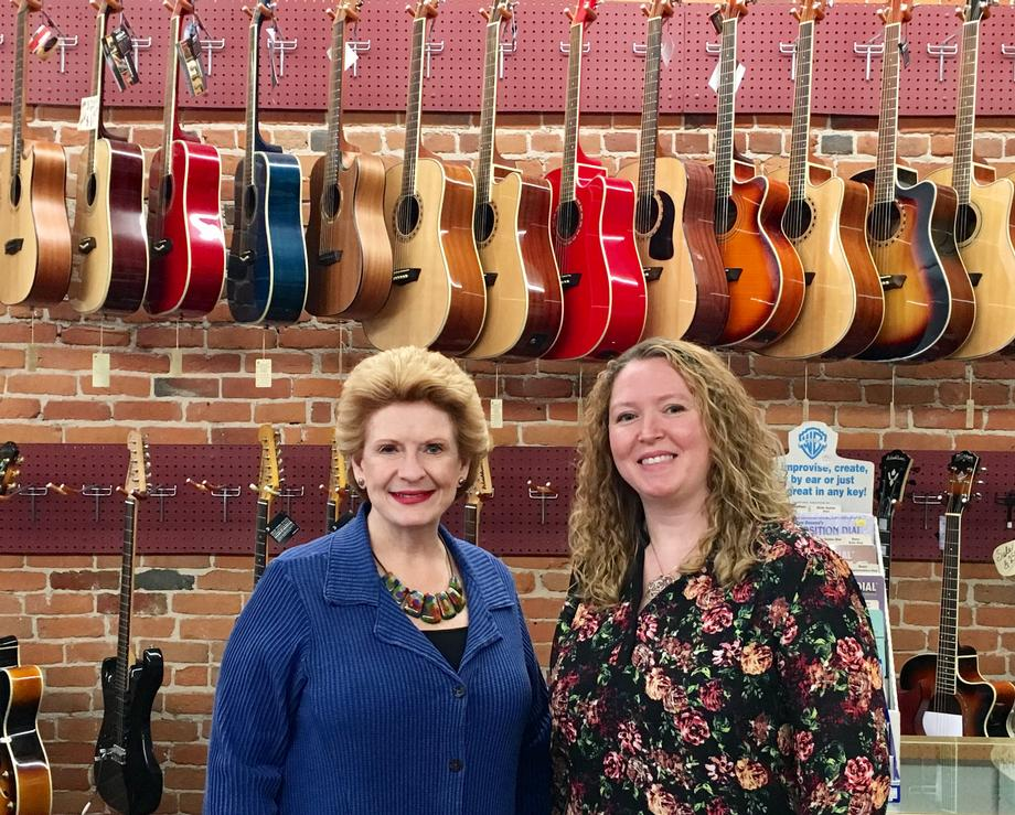 """We were excited to have Senator Stabenow visit our music store and our community,"" said Megan Neimann, Owner of Ardis Music. ""Mt. Clemens is made of wonderful small business, such as great restaurants, and unique retail/resale shops. She truly understands the importance of the arts and of small businesses."""