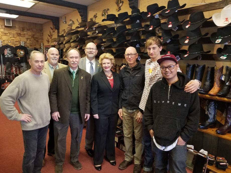 Senator Stabenow visits Chester Boot Shop in Roseville