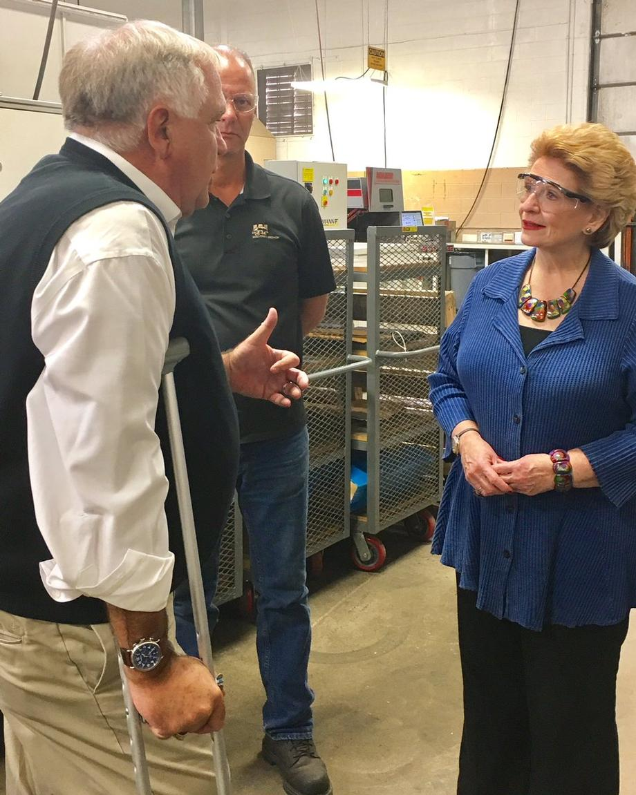"""""""We had a very productive visit with Senator Stabenow and discussed how we were able to survive a difficult economy with the help of the SBA loans and Huntington Bank,"""" said Bernie Aude, President of Wolverine Broach."""