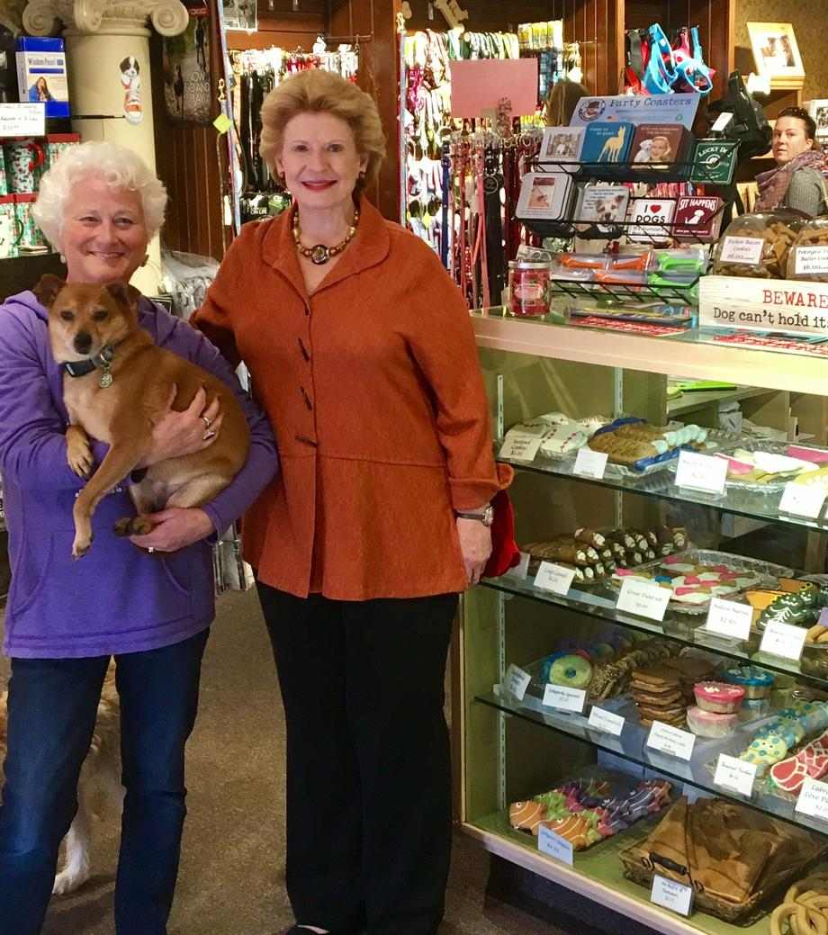 """We enjoyed Senator Stabenow's visit and are glad that she takes such an interest in small businesses statewide,"" said Roxanne Leder, Owner of Decadent Dogs Retail."