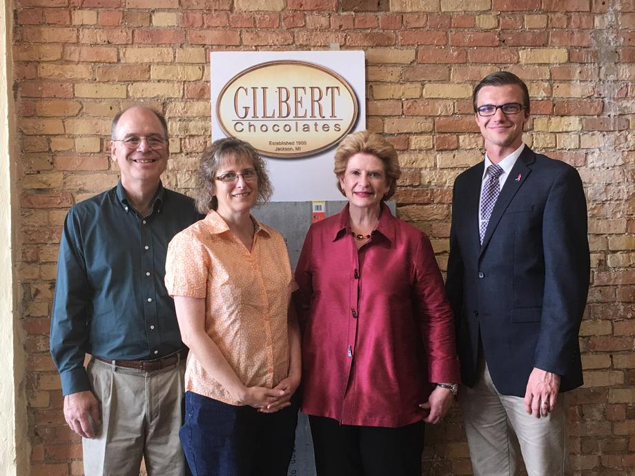 """""""We are very excited to move our chocolate factory to downtown Jackson,"""" said Brian Krichbaum, owner of Gilbert Chocolates. """"It was a pleasure to give Senator Stabenow a sneak peek at this new production facility and retail chocolate store."""""""