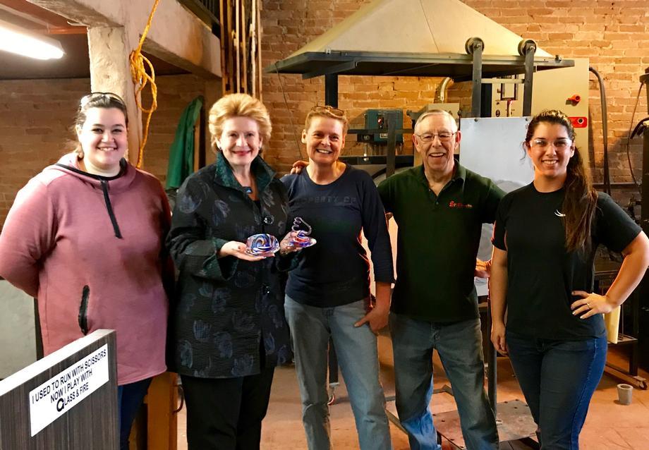 Senator Stabenow Visits Fireworks Glass Studios in Williamston