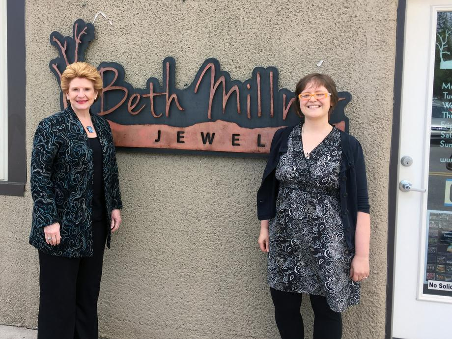 """""""We are pleased to have Senator Stabenow visit Marquette and see our vibrant downtown businesses, including our shop,"""" said Beth Millner, the owner of Beth Millner Jewelry."""