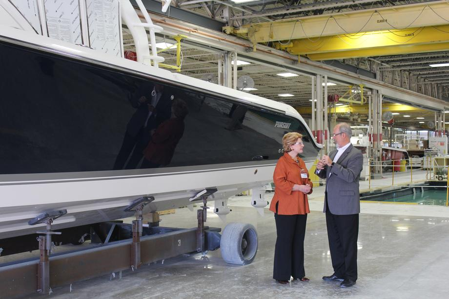 """It's so important when constituents can spend the time to show our Senator the manufacturing floor, show her the jobs we are creating, and explain the challenges we face,"" said David Slikkers, Director of Government Affairs for Tiara Yachts."
