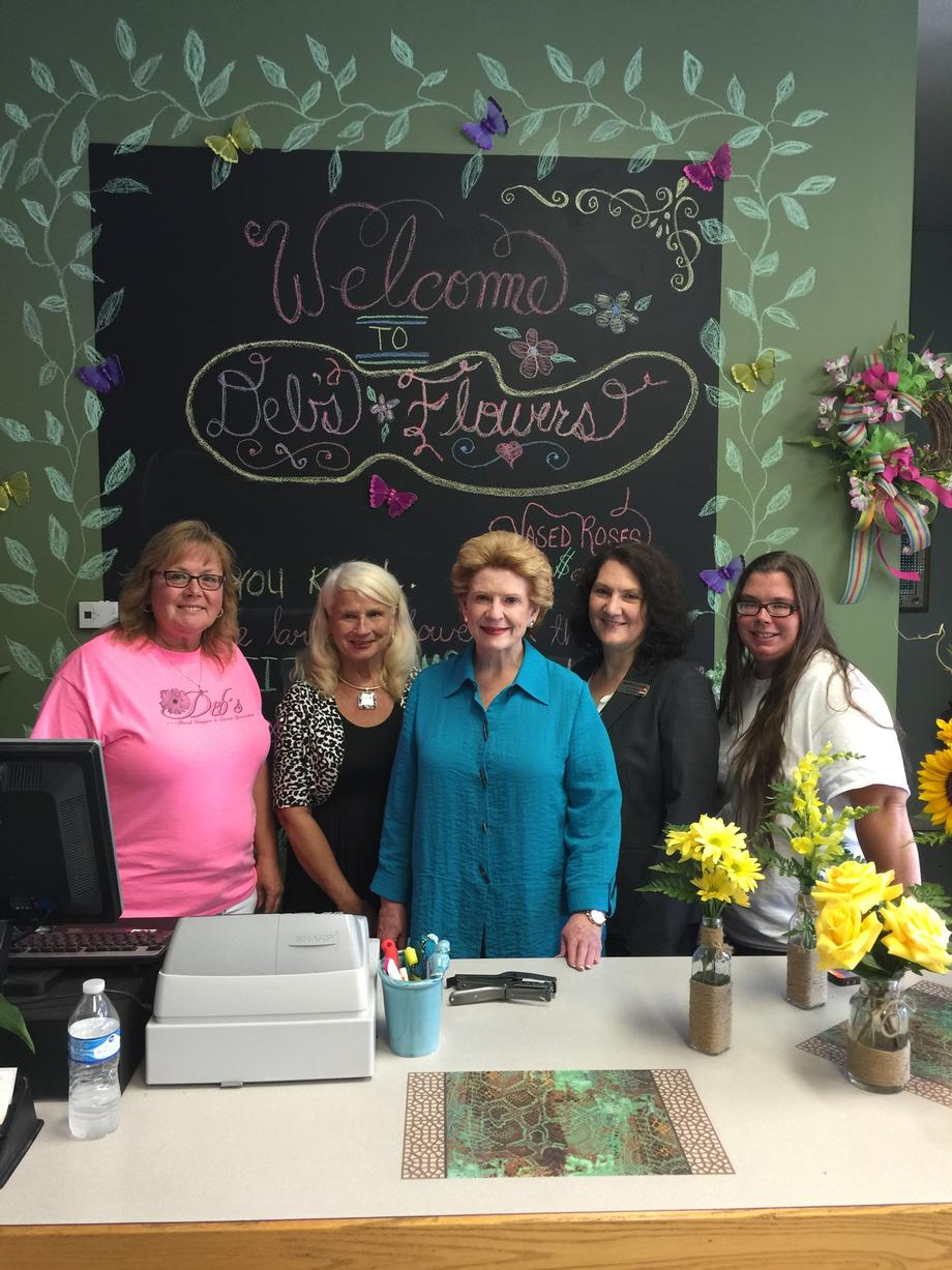 """Senator Stabenow appreciates the commitment we have to creating long term relationships with our customers,"" said Deb Staelgraeve, owner of Deb's Flowers and Gifts."