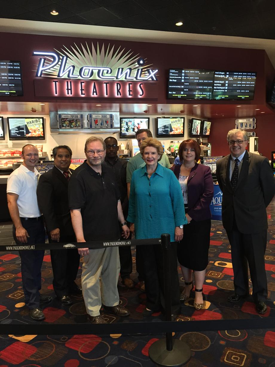 """It was a big deal to have Senator Stabenow come to our theater today, especially before the opening,"" said Cory Jacobson, owner of Phoenix Theatres. ""She understands the kinds of support I need as a small business owner who is looking to grow and expand across Michigan."""