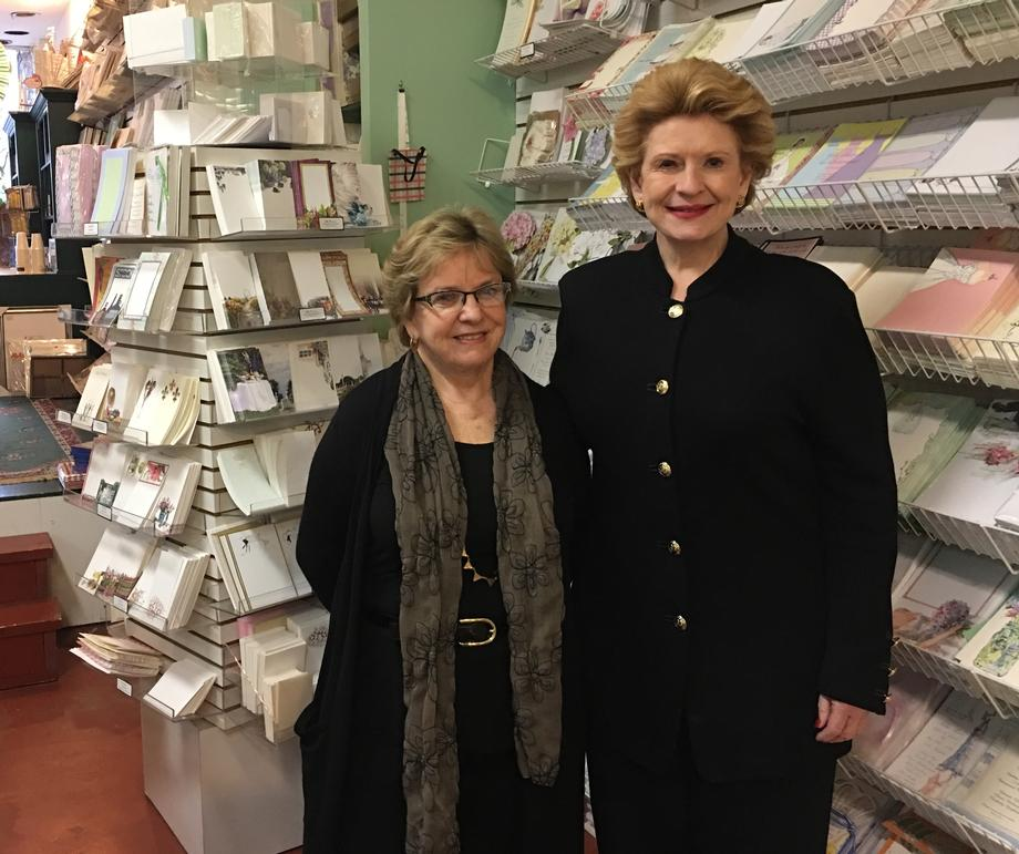 """It was such a great opportunity for Senator Stabenow to visit our stores and have meaningful, positive discussions about some of the difficulties in being a small business owner,"" said Pat Hirsch, owner of Invitations by Design and Petals & Postings. ""We need health care for employees at an affordable cost and we need to be placing the right people in the right jobs in Michigan. I know Senator Stabenow is working very hard to help solve these problems."""