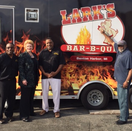 """Not everyone will roll up their sleeves and make sure that your restaurant is getting the support it needs to grow and thrive,"" said Marvin Raglon, one of the Partners of Lark's Bar-B-Que. ""We are extremely pleased with Senator Stabenow's involvement and willingness to stop in, lend a hand, and discuss ways to improve our small business and others in the area."""