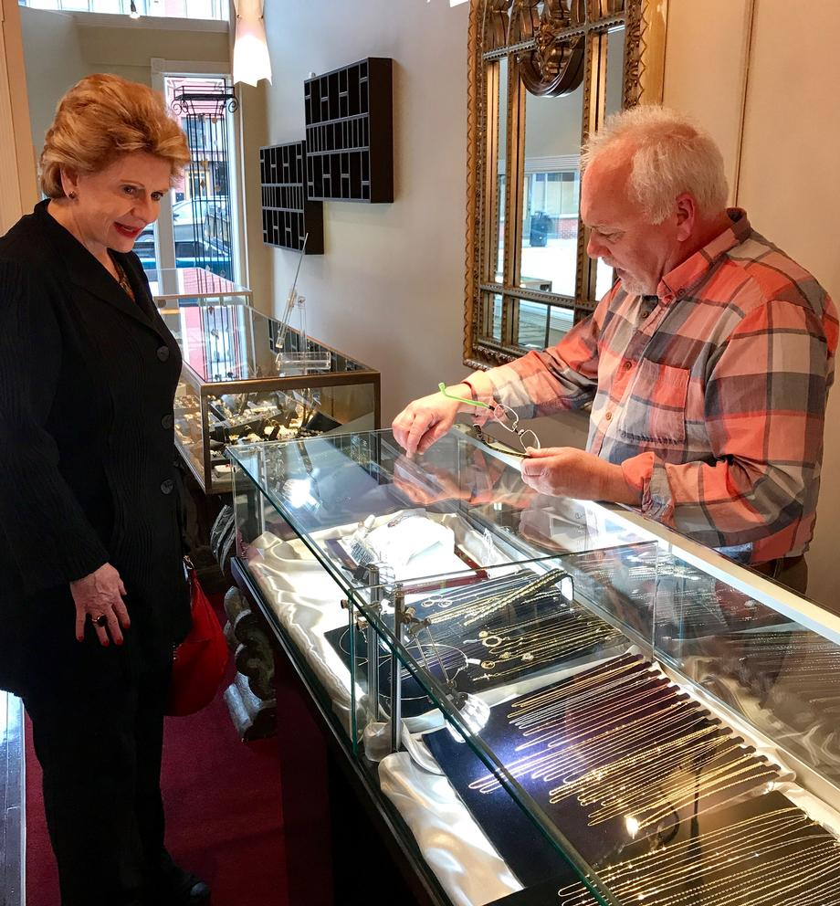 Senator Stabenow visits Parker Jewelers in Three Rivers.