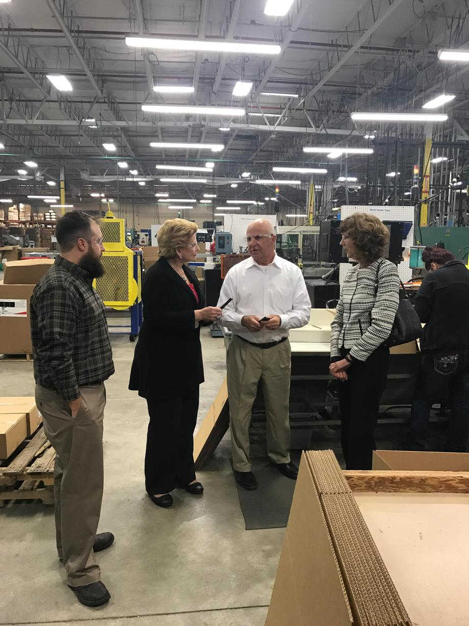 """""""We were grateful to have Sen. Stabenow pay us a visit this week, and appreciate her interest in understanding our business and the challenges we face,"""" said Matthew Dube, Business Development Manager of Vidon Plastics, Inc."""